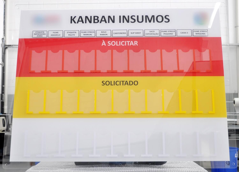Quadro de gestão Kanban insumos com lentes de acrílico