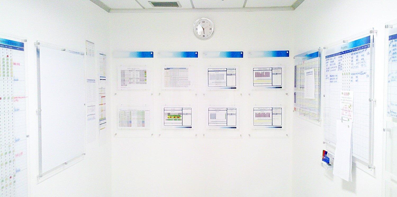 Sala com painéis de acrílico de gestão visual de indicadores